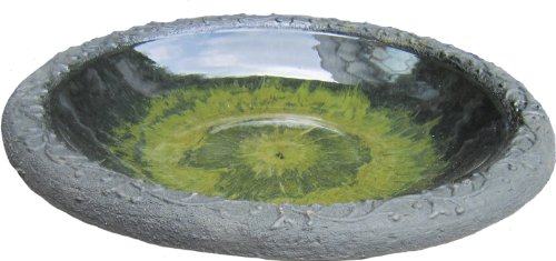 Tierra Garden 4-8184T Gloss Bird Bath Bowl with Matte Rim, Light Green