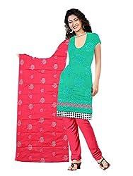 Parinaaz Fashion C-Green Cotton Straight unstitched salwar suit