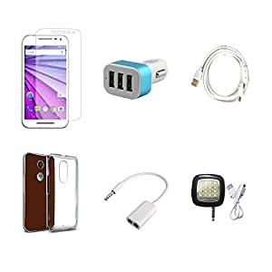 High Quality Combo of Moto G3 Temper Glass + Car Charger 3 USB + Fast Charging Cable + Transparent Back Cover + Audio Splitter Cable