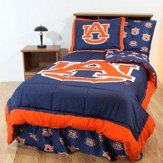 Auburn Tigers 8 Pc. Queen Size Bed In A Bag Comforter Set - Entire Set Includes: (1) Queen Reversible Comforter, (2) Standard Pillow Shams, (1) Queen Flat Sheet, (1) Queen Fitted Sheet, (2) Standard Pillow Cases And (1) Queen Bedskirt - Save Big By Bundli front-912682