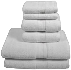 Home Source International MicroCotton Aertex 6 Piece Towel Set, White