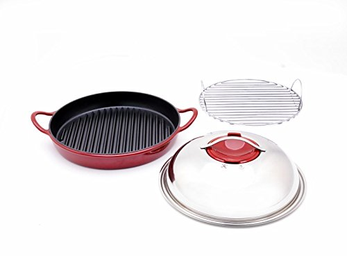 Twiztt By Joan Lunden Cw0004779 12 Inch Cast Iron With Wire Rack Red Round Grillpan front-2735