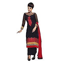 Stylo Fashion Women's Un-Stitched Dress Material (Black_Free Size)
