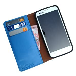 i-KitPit - Genuine Leather Wallet Flip Case Cover For Intex Aqua Curve (SKY BLUE)