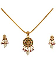 Divaz Traditional Round Shape Gold Color Necklace Set With Earring For Women