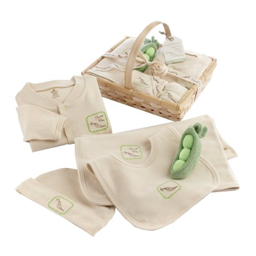 Baby Aspen Sweet Pea 5-Piece Organic Layette Set with Basket, Beige/Sage (0-6 Months)