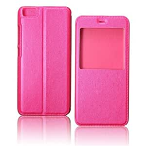 Smart Sleep View Window PU Leather Case PC Back Cover For Xiaomi 5 Mi5-Rose Red