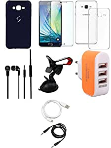 NIROSHA Tempered Glass Screen Guard Cover Case Headphone USB Cable Mobile Holder Charger for Samsung Galaxy ON5 - Combo