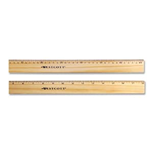 "Westcott Wood Ruler with Double Metal Edge, 18"""