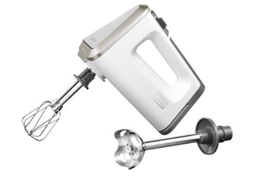 GN 9031 Handmixer 3 Mix 9000 Deluxe Schnellmixstab (500 Watt, mit Turbostufe) Rührbecher, Schnellmixstab, weiß/grau