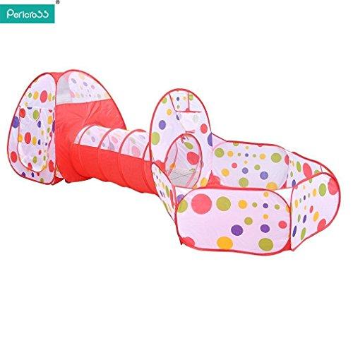 UPGRADE-NEU-PericrossTM-3-Teilig-Kinder-Zelt-mit-Krabbeltunnel-und-Bllebad-Basketball-Korb-Design-fr-Unisex-unter-3-Jahren