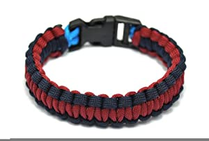 Generic Extra Beefy / Wide 300 lb Paracord Survival Bracelet With Whistle Buckle / Stainless Metal Bow Shackle from Generic