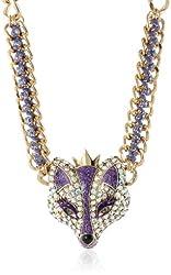 Betsey Johnson Women's Fox Princess Frontal Necklace Purple Pendant Necklace