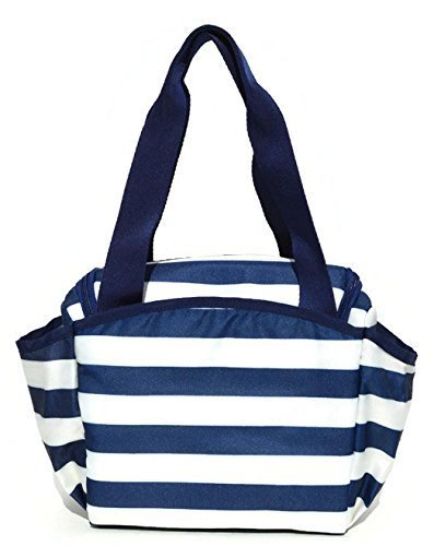 BYO Nosh Lunch Bag, Navy Blue and White Stripes - 1