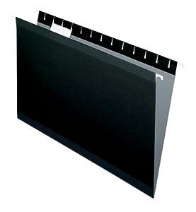 Pendaflex 415315BLA Hanging Folder, Black, 1/5 Tab, Legal, 25 Per Box