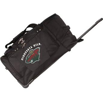 NHL Minnesota Wild Rolling Duffel Bag, Black, 27-Inch by Denco