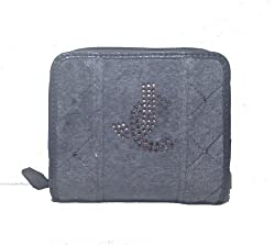 Juicy Couture JC Prep Quilted Velour French Purse Wallet, Grey