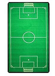 Children\'s Football Pitch Mat Green Rug with Goals Nets 2\'7\