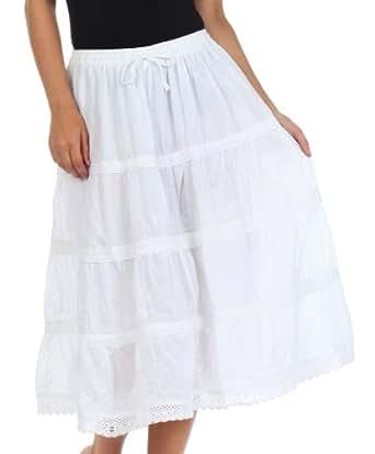 Sakkas 85431SV Mid Length Cotton Peasant Boho Gypsy Skirt - White - One Size
