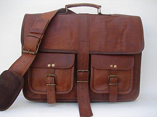 2438b368b7 Krish Vintage en cuir souple marron Messenger Sacoche pour ordinateur  portable véritable Mallette