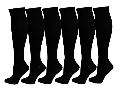 6 Pairs Knee High Graduated Compression Socks For Women and Men - Best Medical, Nursing, Travel & Flight Socks - Running & Fitness - 15-20mmHg (L/XL, Black)
