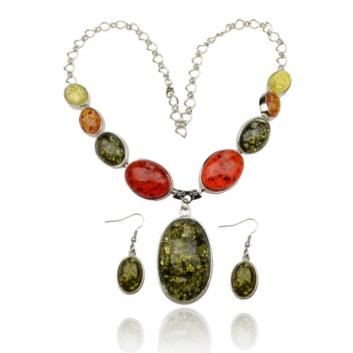 Ladies Faux Amber Awesome Gem Silver Tone Necklace Pendant Earring Sets A2155K