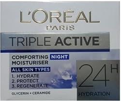 Loreal Paris Triple Active Comforting Night Moisturiser- All Skin Type 50 ml With Free Ayur Saop