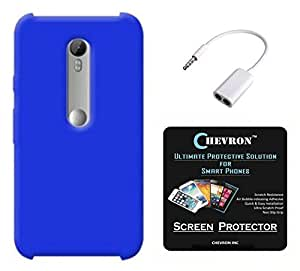 Chevron Matte Finish Back Cover Case for Moto G 3rd Generation with HD Screen Guard & Audio Splitter (Deep Blue)