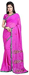 Shree Creation Women's Georgette Saree with Blouse Piece (Pink)