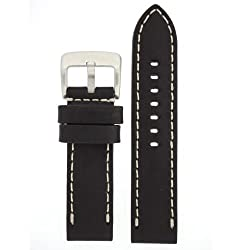 Panerai Style Watch Band Thick Leather Like Original Heavy Buckle Black 26 millimeter by Tech Swiss
