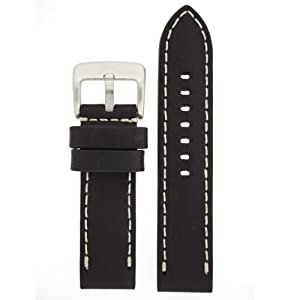 Panerai Style Watch Band Thick Leather Like Original Heavy Buckle Black 24 millimeter by Tech Swiss