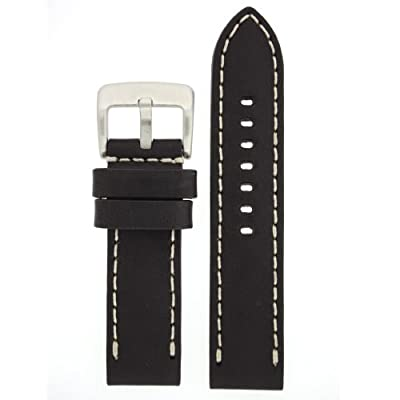 Tech Swiss LEA1550-24 24 mm Leather Calfskin Black Watch Band