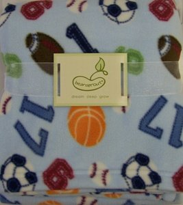 Micro Polar Baby Fleece Blanket Blue Sports Theme BeanSprout - 1