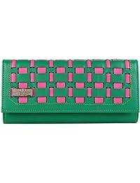 Quenchy London Mesh Women's Clutch Purse Women Wallet (Green,Pink) (1603_GREEN)