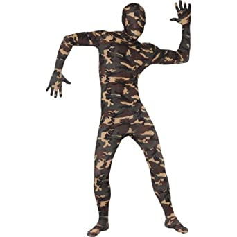 Smiffy's Men's Second Skin Suit Camouflage with Bumbag Concealed