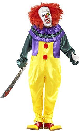Smiffy's 24376L - Horror Classic Clown Costume con Tuta e Maschera, Multicolore, L