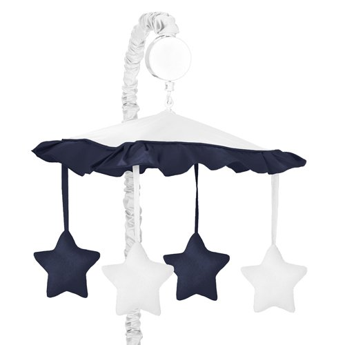 White And Navy Modern Hotel Musical Baby Crib Mobile By Sweet Jojo Designs front-3160