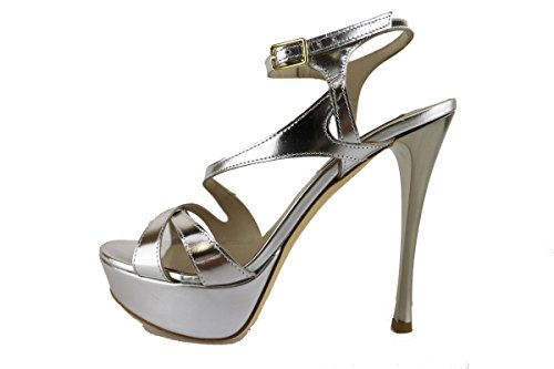 GIANCARLO PAOLI sandali donna argento vernice AH894 (38 EU)