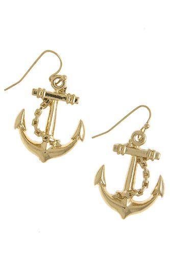 The Jewel Rack Detailed Anchor Earrings (Gold) front-618760