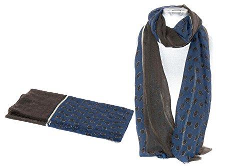 Sciarpa uomo LANCETTI fantasia blu moro pashmina con frange 100% lana L1581