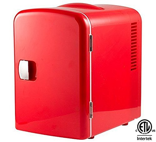 Gourmia GMF-600R Portable 6 Can Mini Fridge Cooler and Warmer for Home, Office, Car or Boat AC & DC, Red (Mini Fridge Red compare prices)