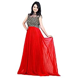 Accustyle Red Colour Gorgette Materials Partywear Designer Gouns