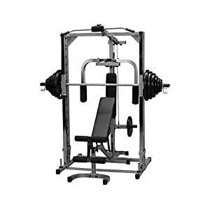 Smith Machine Plate Load w/FID Bench & 175lb Plates & Gym Mat, Ready to use