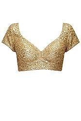Fabron beige designer sequins work unstitched blouse for women