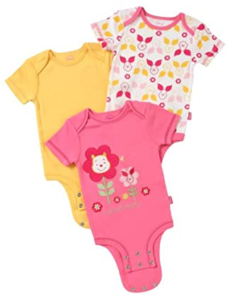 Disney Cuddly Bodysuit - Fashion 3 Pack: Winnie The Pooh Floral Heads, Pink/Yellow/White, 3-6 Months