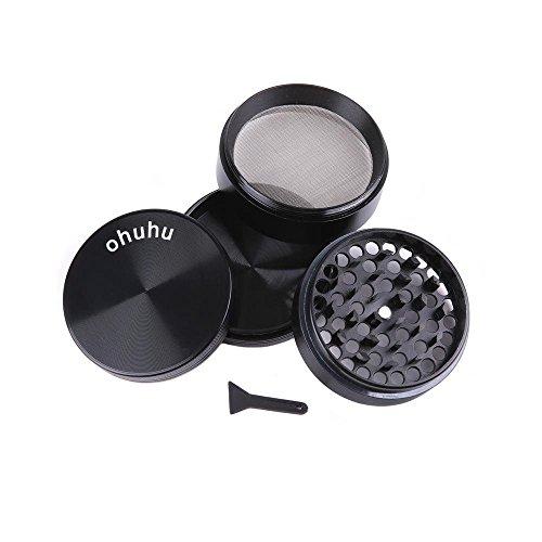 """Ohuhu® 4 Pieces 2.38"""" Heavy Duty Zinc Alloy Pollen Tobacco Grinder/ Spice Grinder/ Herb Grinder/ Weed Grinder, Magnetic Top, Elegant Black"""