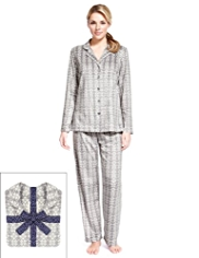 Revere Collar Floral Snowflake Fleece Pyjamas