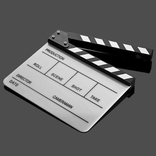Professional Black & White Acrylic Clapper Board Slate