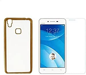YuniKase (COMBO OFFER ) Vivo V3 Max - Transparent Soft Silicon Flexible Electroplated Edges TPU Back Case Cover + Premium Tempered Glass screen pretector (Gold Transparent)