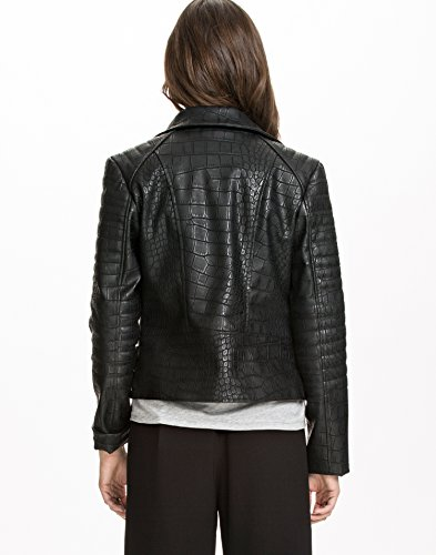 NLY Design Women's Structured Biker Jacket Black Size Large 100% polyurethane. lined of 100% polyest..